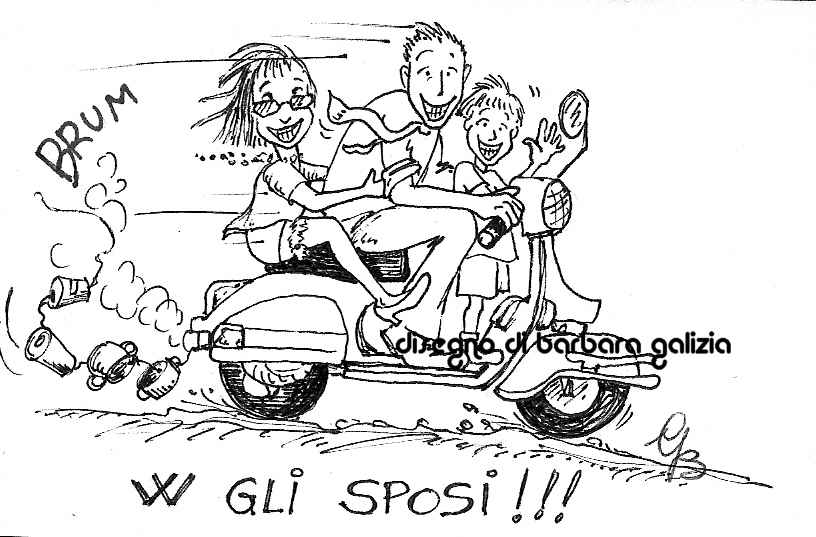 caricatura sposi in vespa matrimonio china